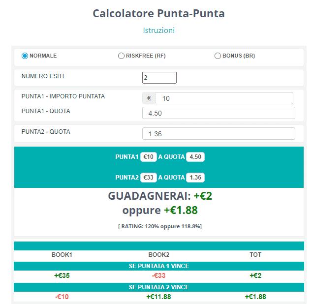 calcolatore matched betting