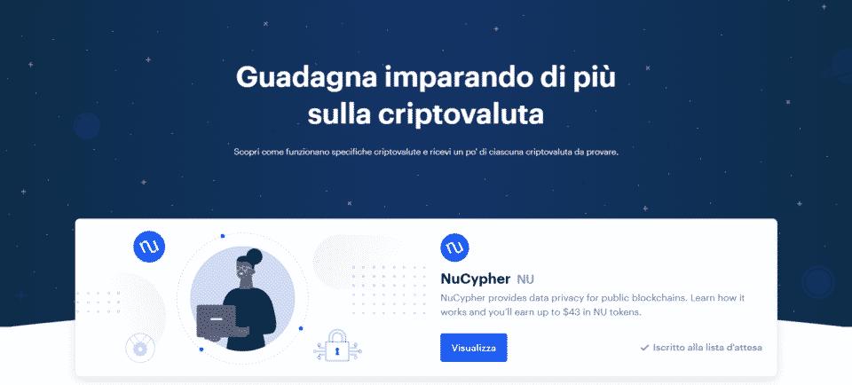 criptovalute gratis con coinbase earn