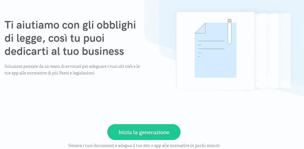 Homepage di Iubenda
